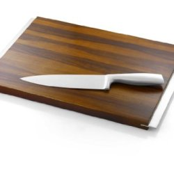Acacia Wood Cutting Board & Stainless Steel Knife Set