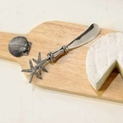 Starfish Seashell Cheese Cutting Board And Knife Gift Set Stainless Steel Set 2