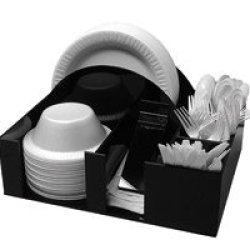 Paper Plate And Bowl Holder Napkin Dispenser Knife Fork Spoon Organizer, Bbq Or Picnic Caddy (3014)