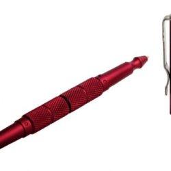 Uzi Uzi-Tacpen5-Rd Defender Aircraft Aluminum Tactical Pen With Carbide Tip Glass Breaker, Red