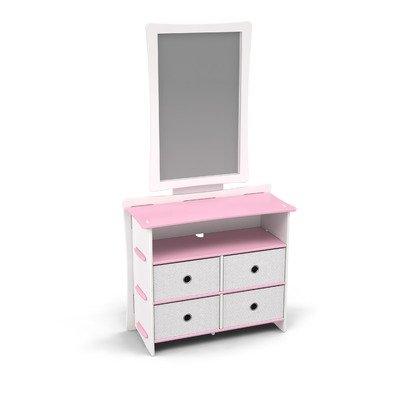Image of Legare Furniture DRSM-122 / MRWM-112 Legare Kids Dresser and Mirror Set in Pink and White (DRSM-122 / MRWM-112)