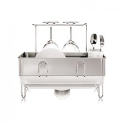 Simplehuman Compact Steel Frame Dishrack With Wineglass Holder, Stainless Steel, White