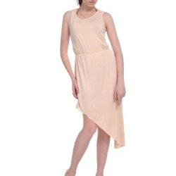 Anna-Kaci S/M Fit Beige Leg Reveal Knife Pleats Asymmetrical Side Hem Dress