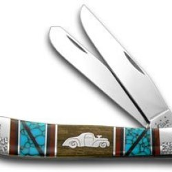 Case Xx Yellowhorse Willy Car Hard Wood Turquoise 1/2 Trapper Pocket Knife Knives