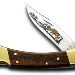 Buck 110 Wood Running Deer Folding Hunter 1/400 Pocket Knife Knives