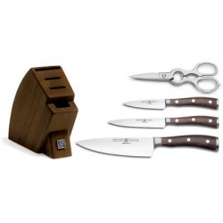 Ikon 5 Piece Studio Walnut Knife Block Set