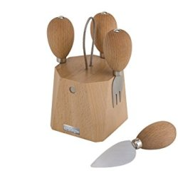 Artelegno 66 Parma Magnetic Cheese Knife Block With Four Stainless Steel Cheese Knives, Solid Beech Wood Natural Lacquer Finish