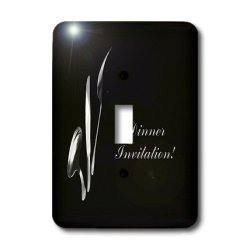 Lsp_43331_1 Beverly Turner Invitation Design - Dinner Invitation, Spoon Knife And Fork On Black - Light Switch Covers - Single Toggle Switch