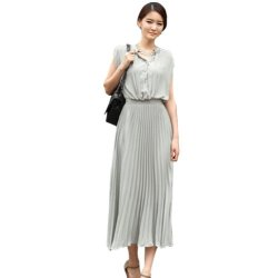Knife Pleat Cap Sleeve Maxi Chiffon Long Dress (L, Gray)