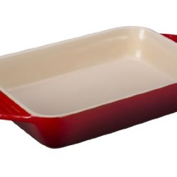 Le Creuset Stoneware Rectangular Dish, 12.5 By 8.25-Inch, Cherry