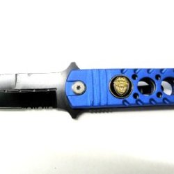 """Super Knife - Spring Assist Police Logo Pocket Knife 8"""" With Belt Cutter, Glass Breaker"""