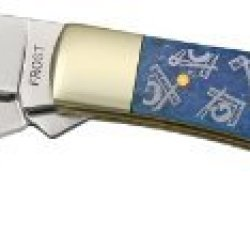 Frost Cutlery & Knives Mas108Bl Masonic Trapper Pocket Knife With Blue Smooth Bone Handles