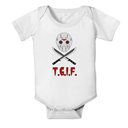 Scary Mask With Machete - Tgif Baby Romper Bodysuit - White - 12 Months