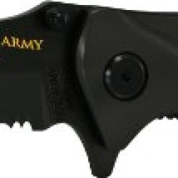 U.S. Army Army4Bs Linerlock Knife With 40% Serrated Drop Point Blade, Black