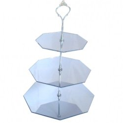 Three Tier Silver Hexagon Mirror Cake Stand - Large + Silver Handle