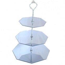 Three Tier Silver Hexagon Mirror Cake Stand - Medium + Silver Handle