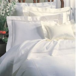 Sferra Diamante 96 X 114 Full/Queen Flat Sheet - White,Ivory