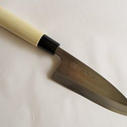 """Sakai Takumi Ajimasa, Stainless Steel Model Suiko, Japanese Kitchen Knife, Deba150Mm/5.9"""", Made In Japan"""