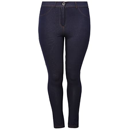 Plus size indigo jersey demin jeggings. Featuring pocket detail to front, silver button and zip fastening, back pockets and belt loops. Made with 5% elastane for extra stretch.