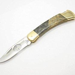Buck 110 Custom Cabelas Hunter Lockback Knife Deer Cutout Buckeye Burl Wood Handle