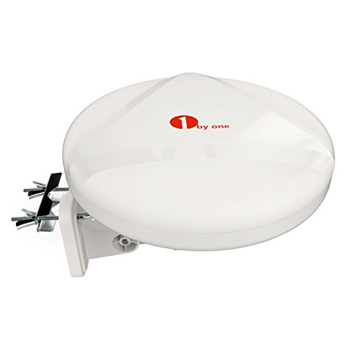 1byone 60 Miles 360° Reception Omni-directional Amplified Outdoor HDTV Antenna for FM / VHF / UHF, Anti-UV Coating, Detachable Amplifier USB Power Supply, Waterproof and Super Compact