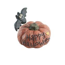 Craft Outlet Papier Mache Pumpkin With Bat Figurine, 4.75-Inch