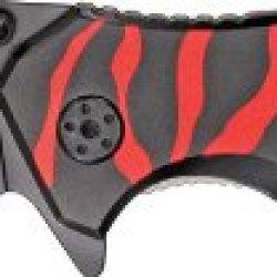 Tac Force Zebra Stripe Rescue Linerlock Serrated Red/Black Pocket Knife