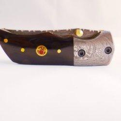 "Dkc-27 Wizard 7"" Long, 4"" Folded 6Oz Damascus Tanto Folding Pocket Hunting Knife Black Bone Madallion Inlay Dkc Knives Tm Hand Made Artisan Quality"