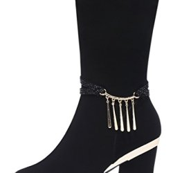 Guciheaven Women Winter New Style Keep Warm Tassel Decorative Frosted Leather Mid-Calf Boots(7.5 B(M)Us, Black)