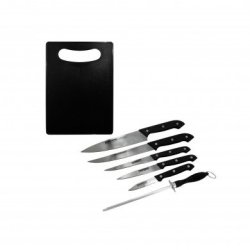 6-Piece Knife Set With Hanging Sharpener And Free Mini Chopping Board