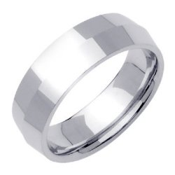 14K White Gold Traditional Knife Edge Men'S Wedding Band (7Mm) Size-9.5