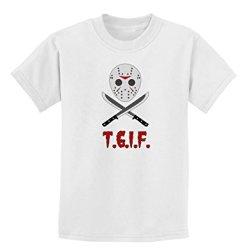 Scary Mask With Machete - Tgif Childrens T-Shirt - White - Xs