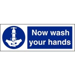 Now Wash Your Hands Symbol Sign Self Adhesive Vinyl. 90 X 230Mm.