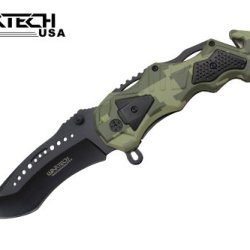Wartech Tactical Spring Assisted Rescue Knife, Green Camoflage