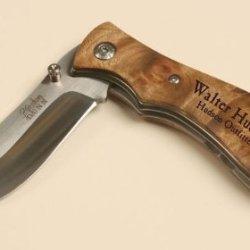 "Personalized Pocket Knife - 3"" Blade Burl Handle"