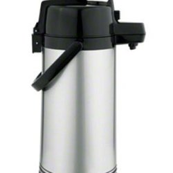 Update International Nld-25-Or/Sf Brushed Stainless Steel Airpot With Orange Lever-Top, 2.5-Leter