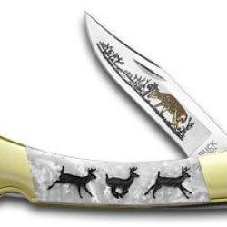 Buck 110 Custom White Pearl Corelon Folding Hunter Running Deer 1/400 Knives