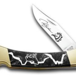 Buck 110 Yellowhorse Custom Black Pearl Corelon Wolf Valley 1/100 Pocket Knife