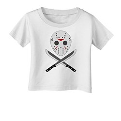 Scary Mask With Machete - Halloween Infant T-Shirt - White - 12Months