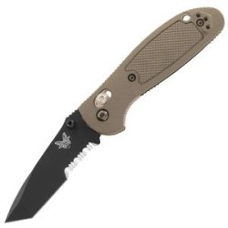 Benchmade Pardue Design Axis Comboedge Mini-Griptilian Tanto Knife With Bk1 Coating (Sand-Colored Handle)