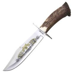 Medium Bowie Knife, Stag Handle, Plain, Leather Sheath