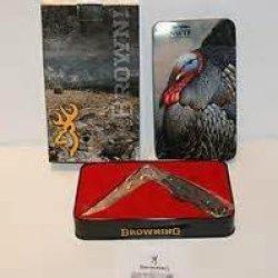 Browning Nwtf Pocket Knife W/ Decorative Tin