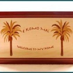 Hawaiian Wood Welcome Sign E Komo Mai
