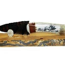 Native Eek Scrimshaw Obsidian Blade Knife