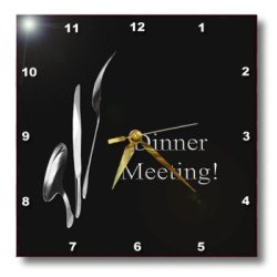 Dpp_43330_1 Beverly Turner Business Design - Dinner Meeting, Spoon Knife And Fork On Black, Business - Wall Clocks - 10X10 Wall Clock