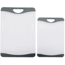 Cutting Board Set - 2 Dishwasher Safe Poly Plastic Kitchen Boards - Better Than Wood, Glass, Bamboo