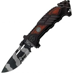 Mtech Usa M-1023Wu Us Marines Urban Camouflage Blade Folding Knife, 5-Inch Closed Length, Lasered Brown Pakkawood Inlay Aluminum Handle