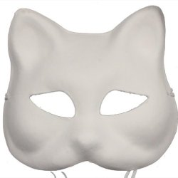 Redskytrader Mens Paper Mache Cat Arts And Craft Mask One Size Fits Most White