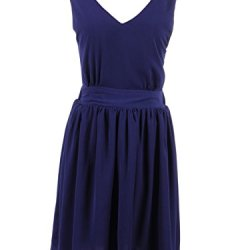 Anna-Kaci S/M Fit Dark Blue Cut Out Tie Back Knife Pleat Detail Skater Dress