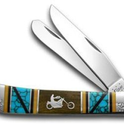 Case Xx Yellowhorse Chopper Hard Wood Turquoise 1/2 Trapper Pocket Knife Knives